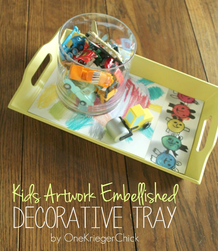Kids Artwork Embellished tray- OneKriegerChick