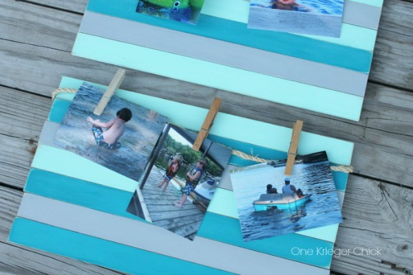 Chalk painted Summer memory frame made from paint stir sticks-so cool!