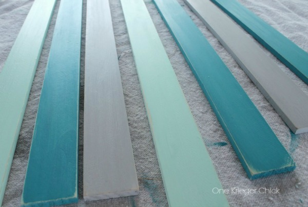 Chalk painted wood slats with creme wax