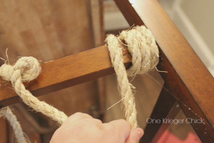 Gluing and wrapping rope on bench leg