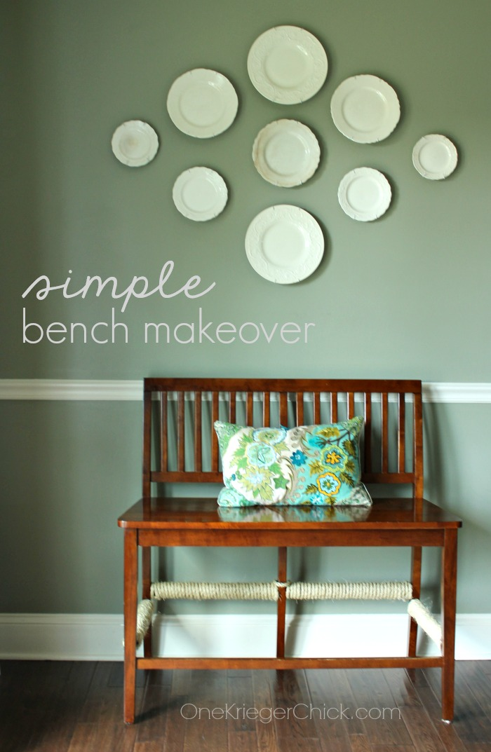Simple updated bench makeover.  You should see the before!