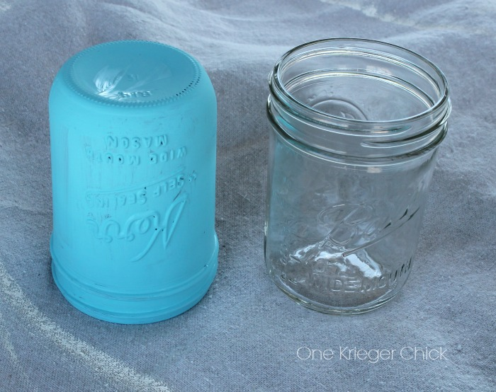 stages in painting a mason jar with chalk paint