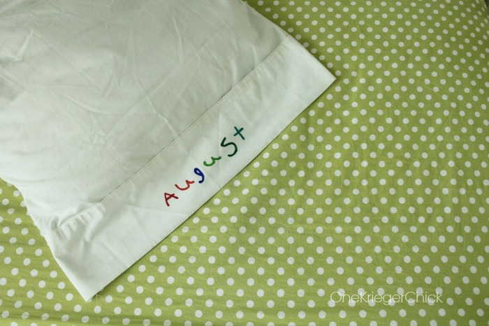 Handwriting on a pillowcase-so cute! #fivedollarcrafts