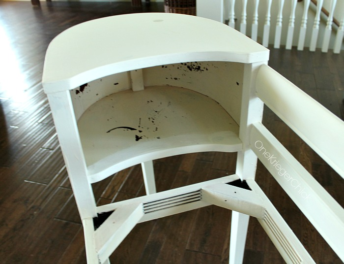 Telephone table makeover-ready for red paint-OneKriegerChick.com