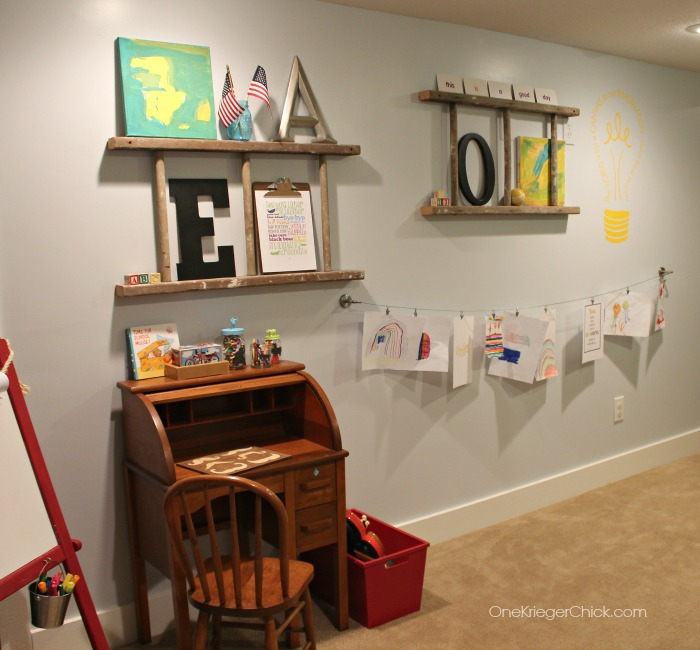 Gallery wall and Home classroom-OneKriegerChick.com