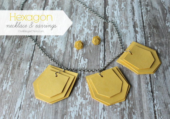 Hexagon necklace and earrings set-OneKriegerChick.com #DesignSpaceStar #CricutExplore