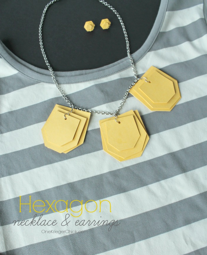 Hexagon-necklace-and-earrings-set-OneKriegerChick.com #DesignSpaceStar #CricutExplore