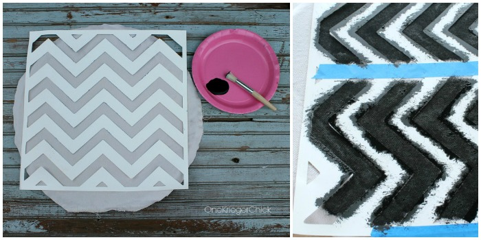 Stenciling Chevron fabric
