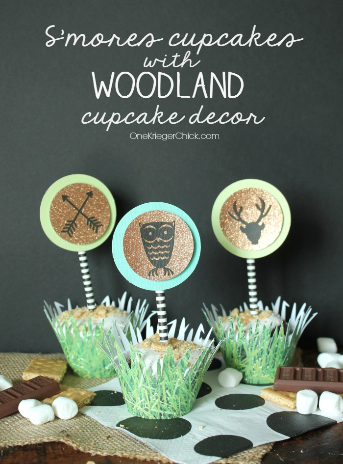 S'mores Cupcakes with simple woodland themed cupcake toppers and wrappers- OneKriegerChick.com