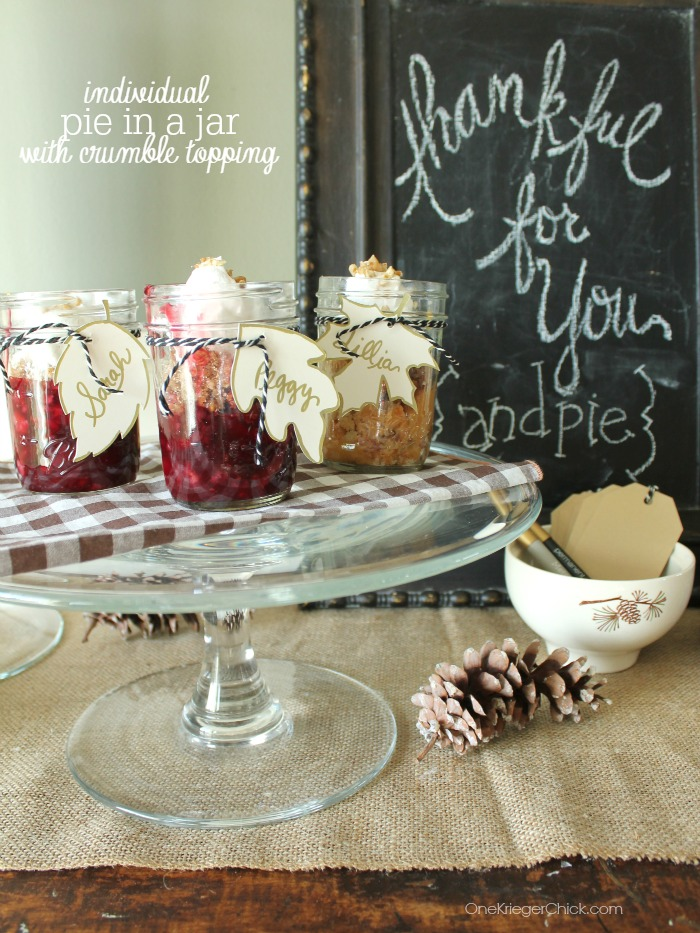Individual Pies in a Jar with Amazing Crumble Topping- You'll never believe how easy these are to assemble! OneKriegerChick.com
