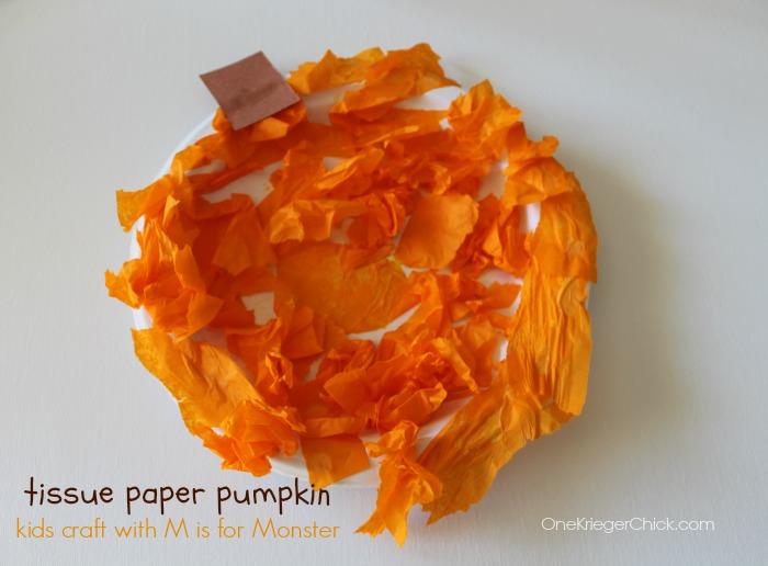 M is for Monser- Tissue Paper Pumpkin craft- OneKriegerChick.com