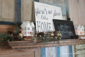 No place like Home Holiday Sign and Mantel- OneKriegerChick.com