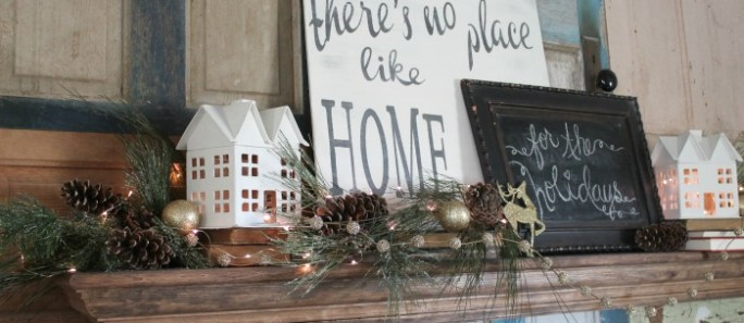 Home for the Holidays sign and mantel
