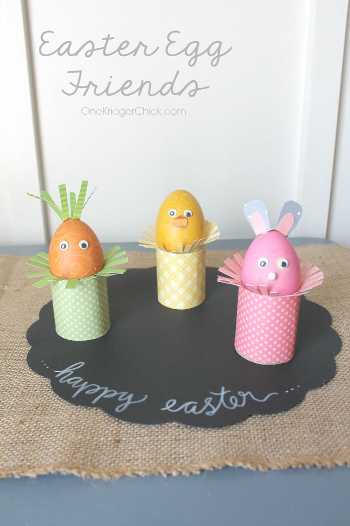 Easter Egg Friends- made with PAAS Easter Egg dying kits- Fun craft for kids! OneKriegerChick.com
