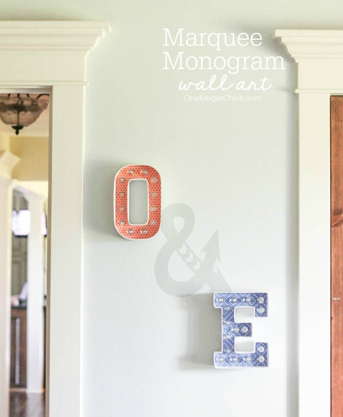 Marquee Monogram Wall Art- Fun and easy wall art made in less than 30 minutes! OneKriegerChick.com