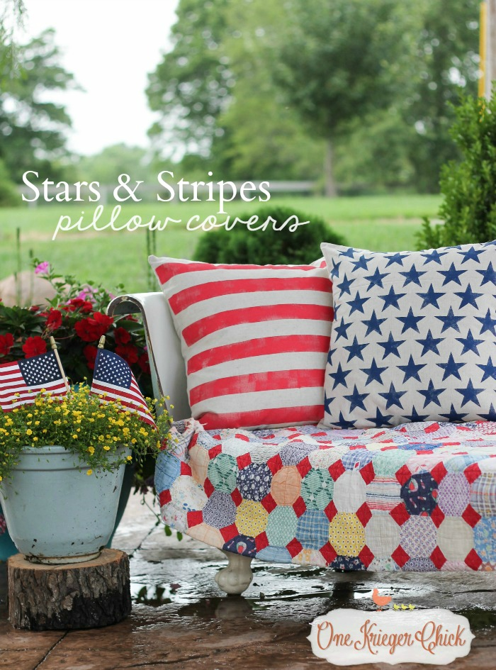 Stars and Stripes Pillow Covers- OneKriegerChick.com