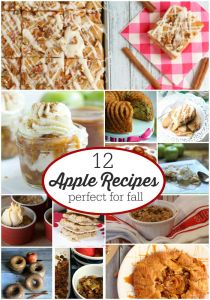 12 Apple Recipes perfect for Fall Apple Season! Pies, Crisps, Doughnuts- You'll want to try them all! OneKriegerChick.com