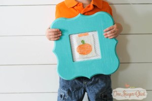 Kids Stamping Craft turned into Pumpkin Print Art- Fun kid-made Fall decor!-1- OneKriegerChick