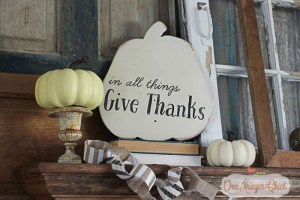 Give Thanks Reversible Chalk paint Fall Sign- OneKriegerChick.com