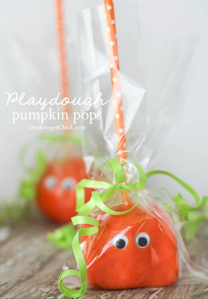 Homemade Pumpkin Playdough Pops- An Awesome last minute Non-Candy Halloween treat!- OneKriegerChick.com
