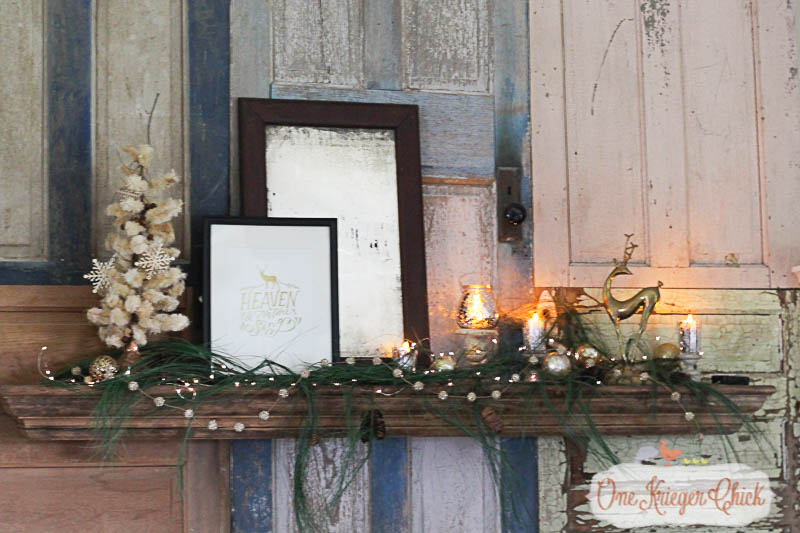 Classic Woodsy Mantel-OneKriegerChick.com Holiday Home Tour