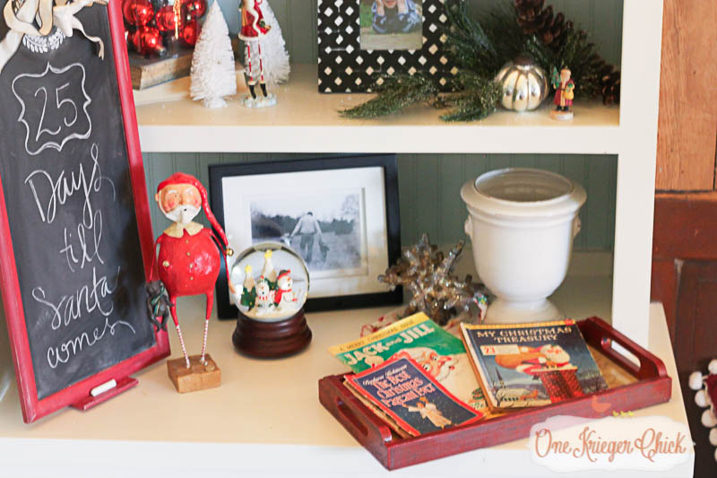 Holiday Bookshelves- OneKriegerChick.com Holiday Home Tour