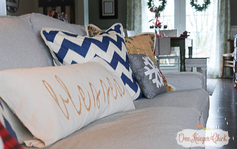 Living Room pillows OneKriegerChick Holiday Home Tour