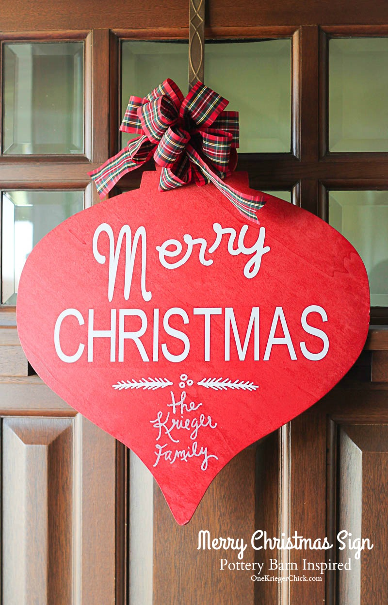 Pottery Barn Inspired Merry Christmas Sign-Perfect for a front door or interior decor. OneKriegerChick.com