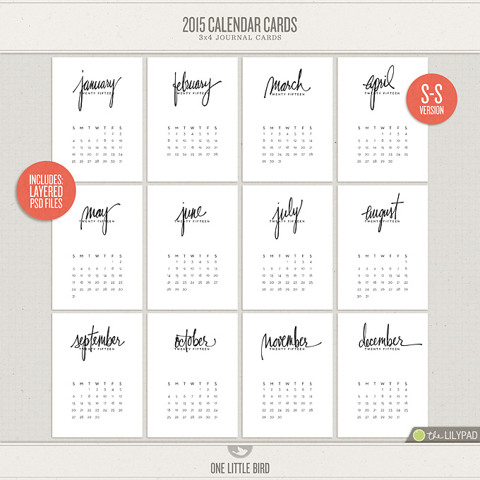 2015 Calendar Cards One Little Bird - monday sunday calendar