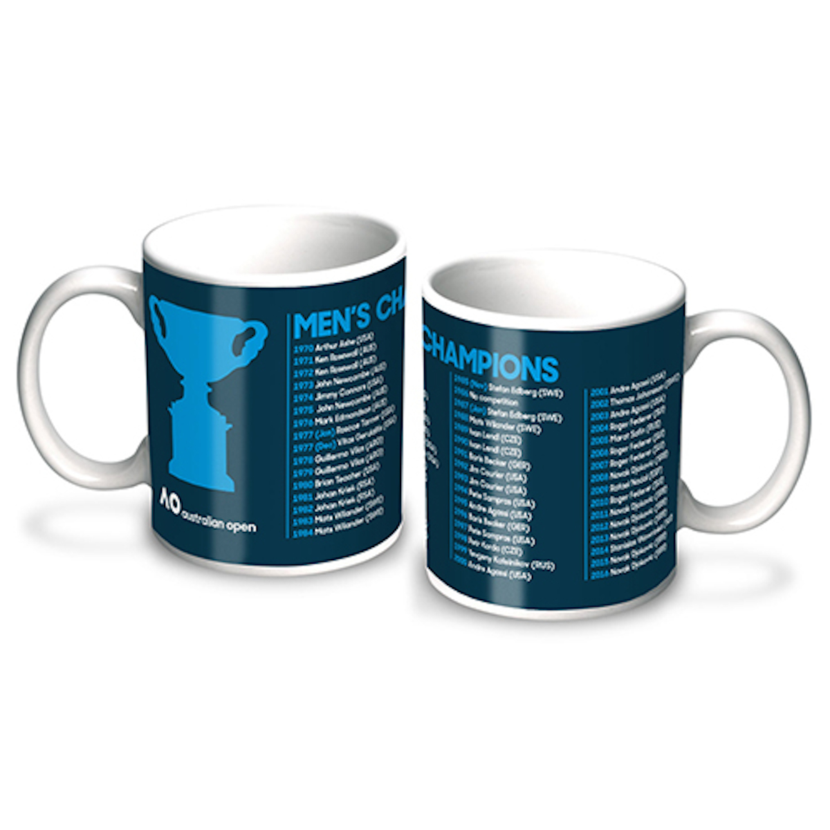 Men Coffee Cups Australian Open Tennis Grand Slam Mens 50 2017 Champions