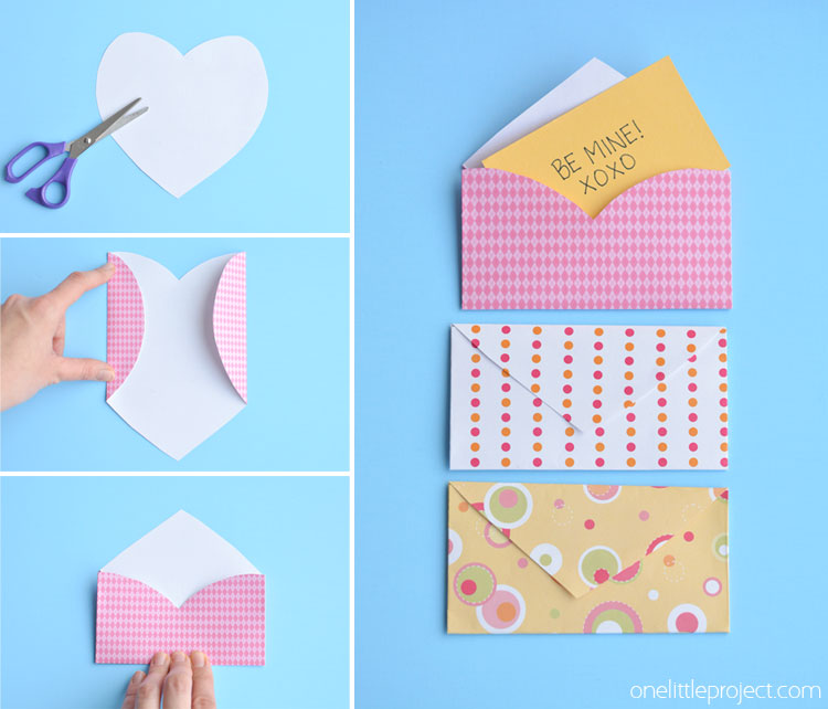 Folded Heart Envelopes - One Little Project