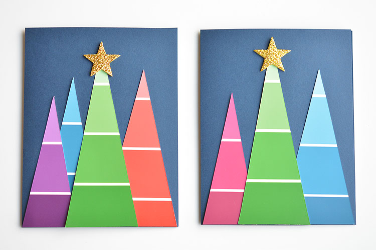 Paint Chip Christmas Cards Paint Swatch Christmas Trees