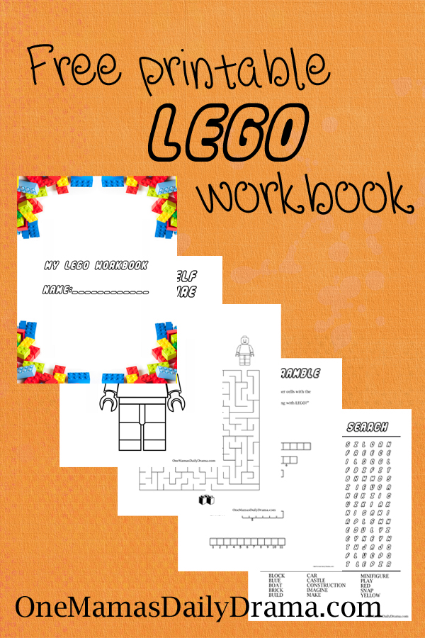 ... puzzles! Lego-themed coloring page, maze, word scramble, and word