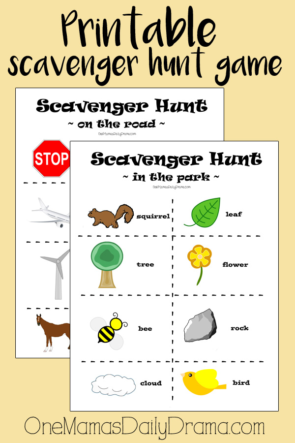 Printable scavenger hunt game for kids | Road trip scavenger hunt and in the park