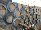 tire climbing wall, climbing structure, play ground ideas, tying tires together, how to cut tires