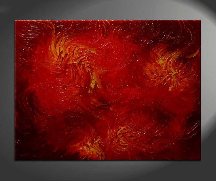 Huge Red Abstract Painting Textured Wall Art Original Passionate