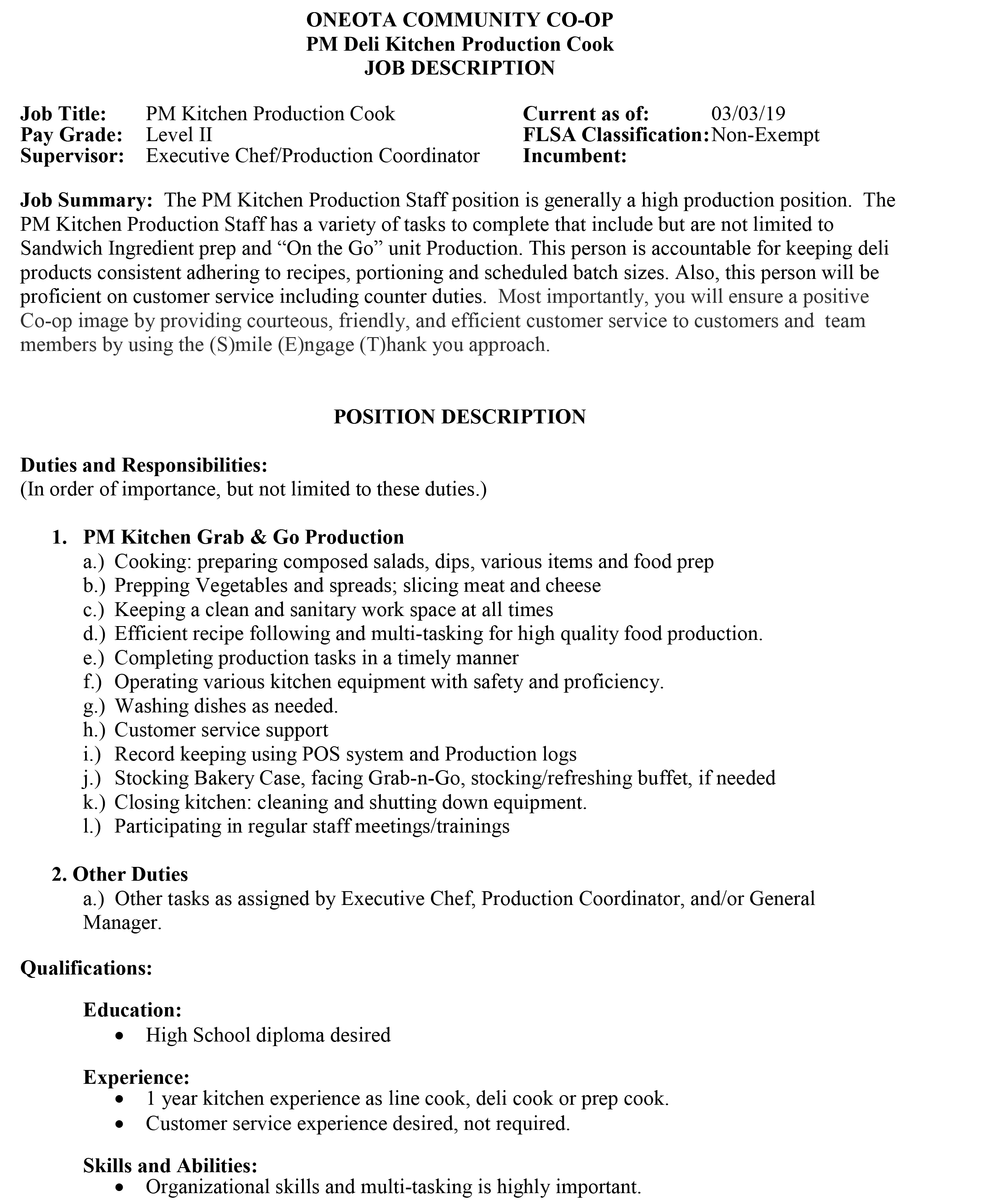 Kitchen Job Description Pm Kitchen Production Staff Part Time And Full Time Description