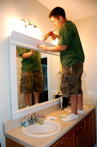 Mirror Borders For Bathroom Mirrors How To Frame A Mirror For A Dramatic Upscale Look One