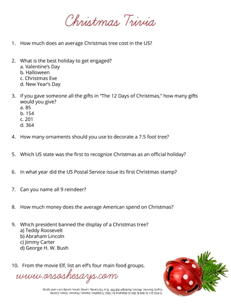 Christmas Trivia Quiz ~ Free Printable (she Rachel)