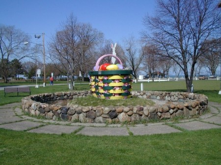 Giant Easter Basket at Lakeview Park Lorain ready for Easter