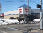Shopping on a snowy day in an Amish Buggy