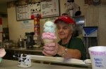 A double-dip ice cream cone at Hartzler Dairy in Wooster