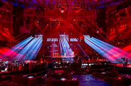 """Freddie representing Hungary with the song """"Pioneer"""" during a rehearsal before the first semi final of the Eurovision Song Contest 2016 in Stockholm."""