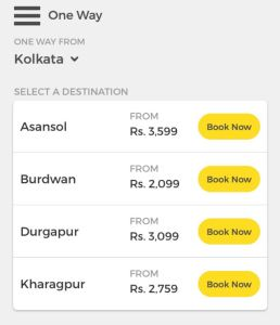 OneWay Routes Available from Kolkata