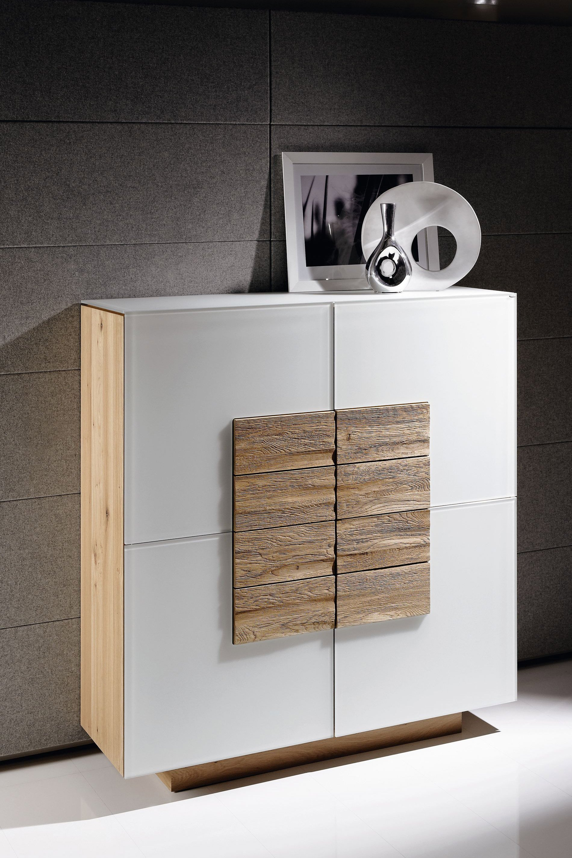 Hoch Sideboard Voglauer Highboard V-montana 128 Wildeiche/ Optiwhite