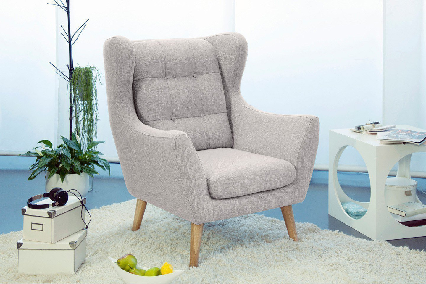Sacly Lounge Sessel Ohrensessel Creme