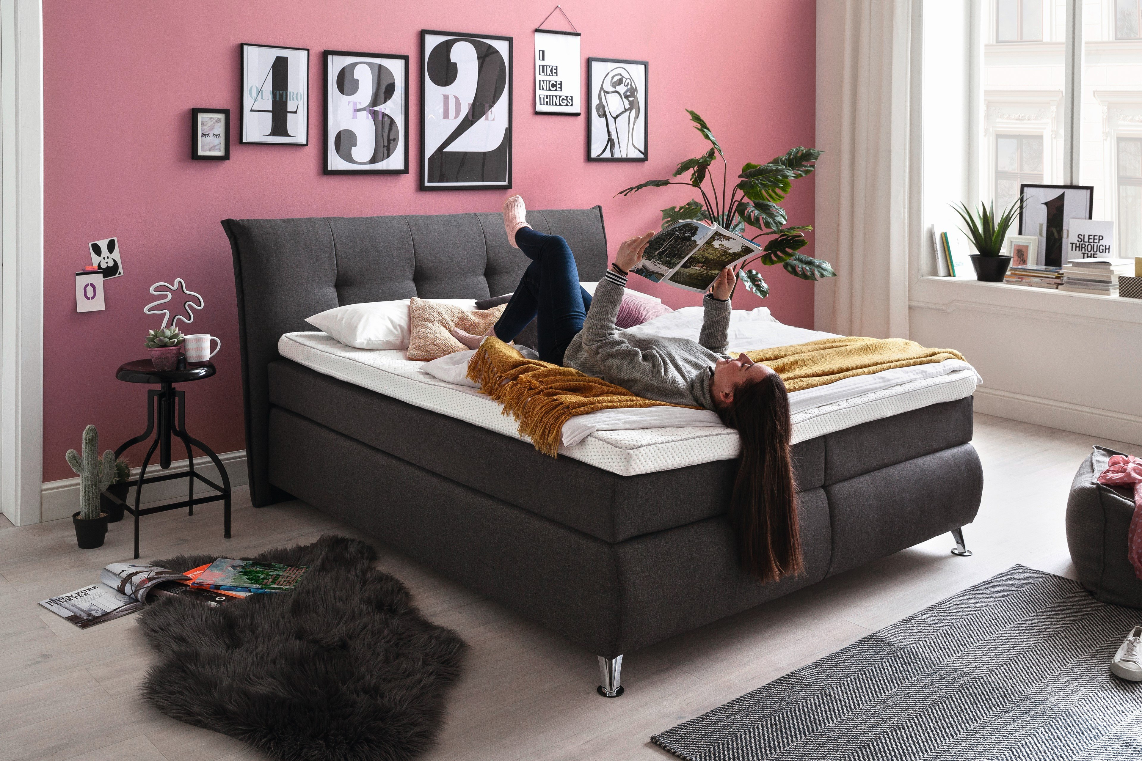 Boxspringbett Anthrazit Hapo Lexos Boxspringbett In Anthrazit Möbel Letz Ihr