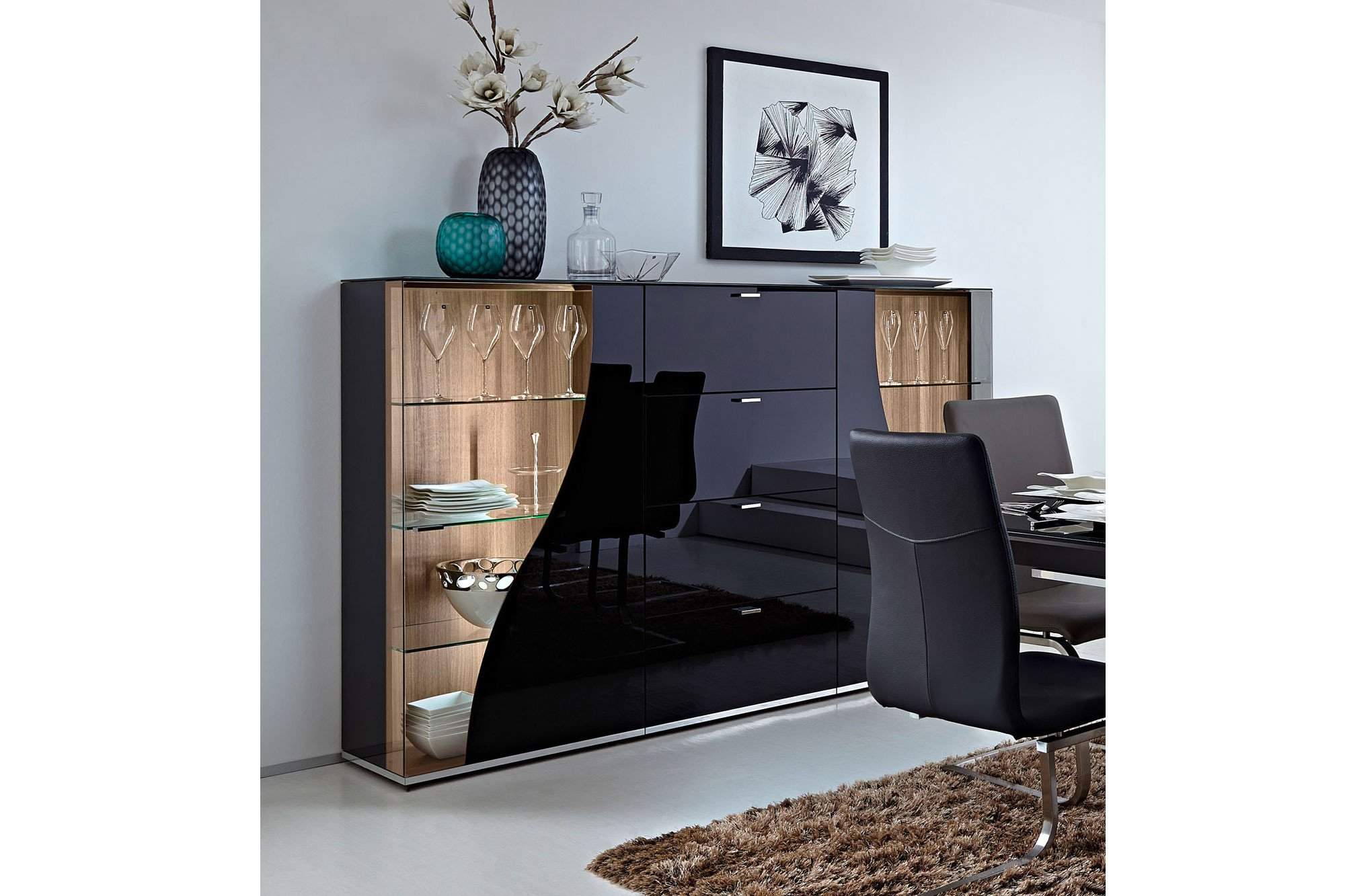 Leonardo Living Highboard Curve Nero Nussbaum Möbel