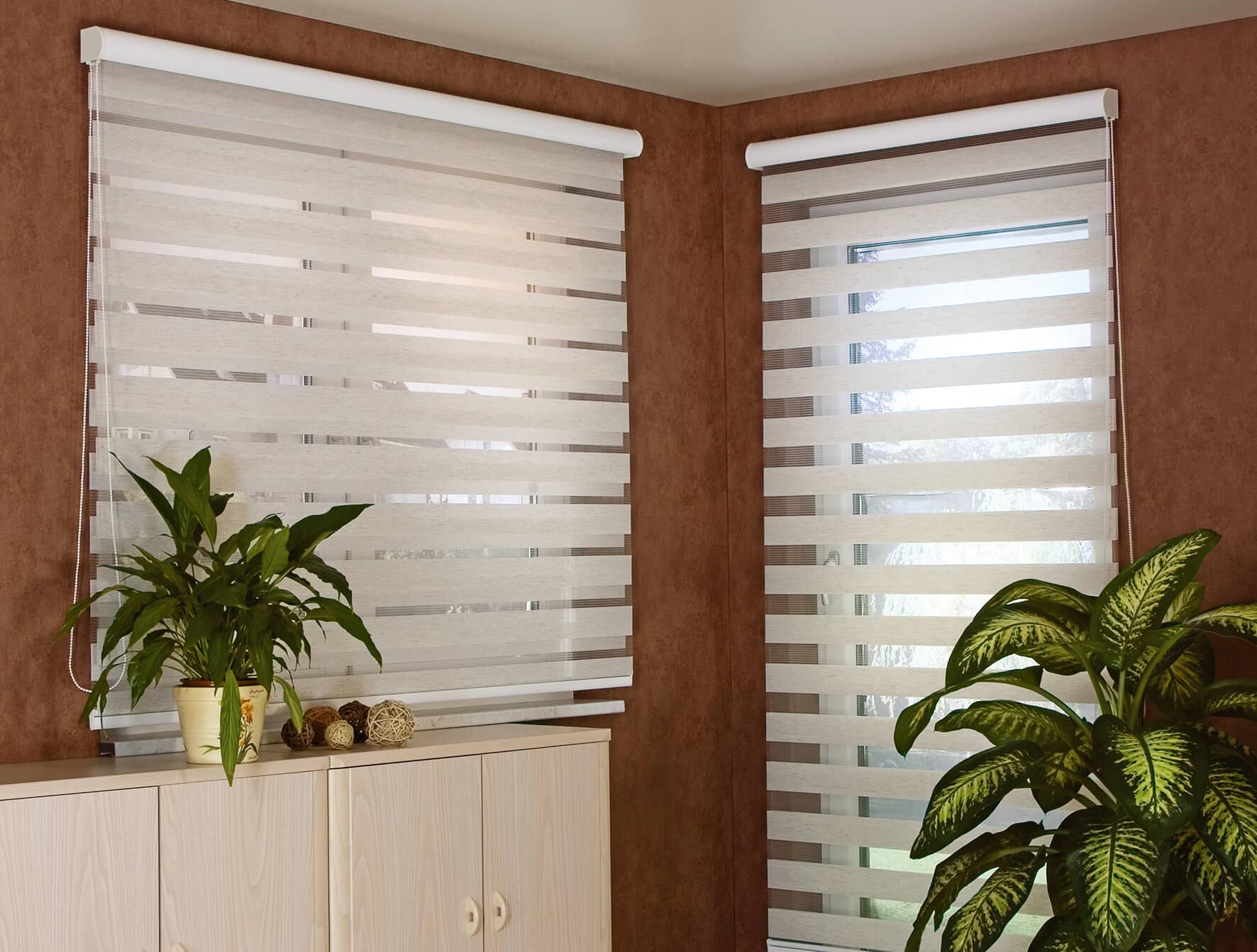 Doppelrollo Zebra Plissee Wohnzimmer Gardinen Weiß Silber Jalousie Fensterrollos