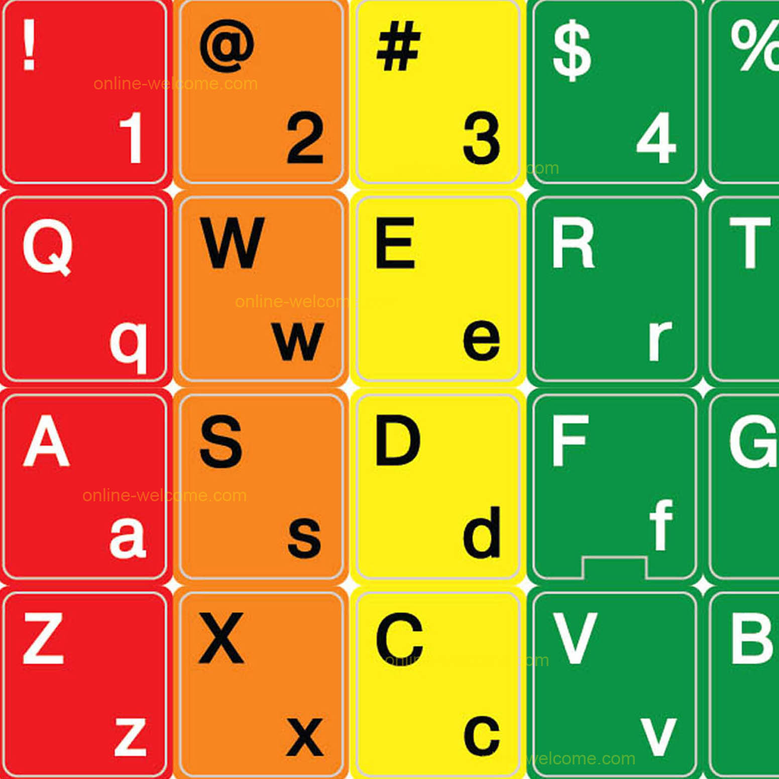 English Pc English Us Learning Colored Lower Upper Case Pc Keyboard Sticker